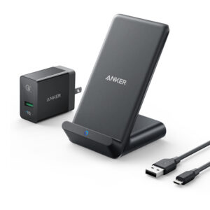Anker PowerWave 7.5 Fast Wireless Charging Car Mount (with 2 Port QC3.0 Car Charger) - Black