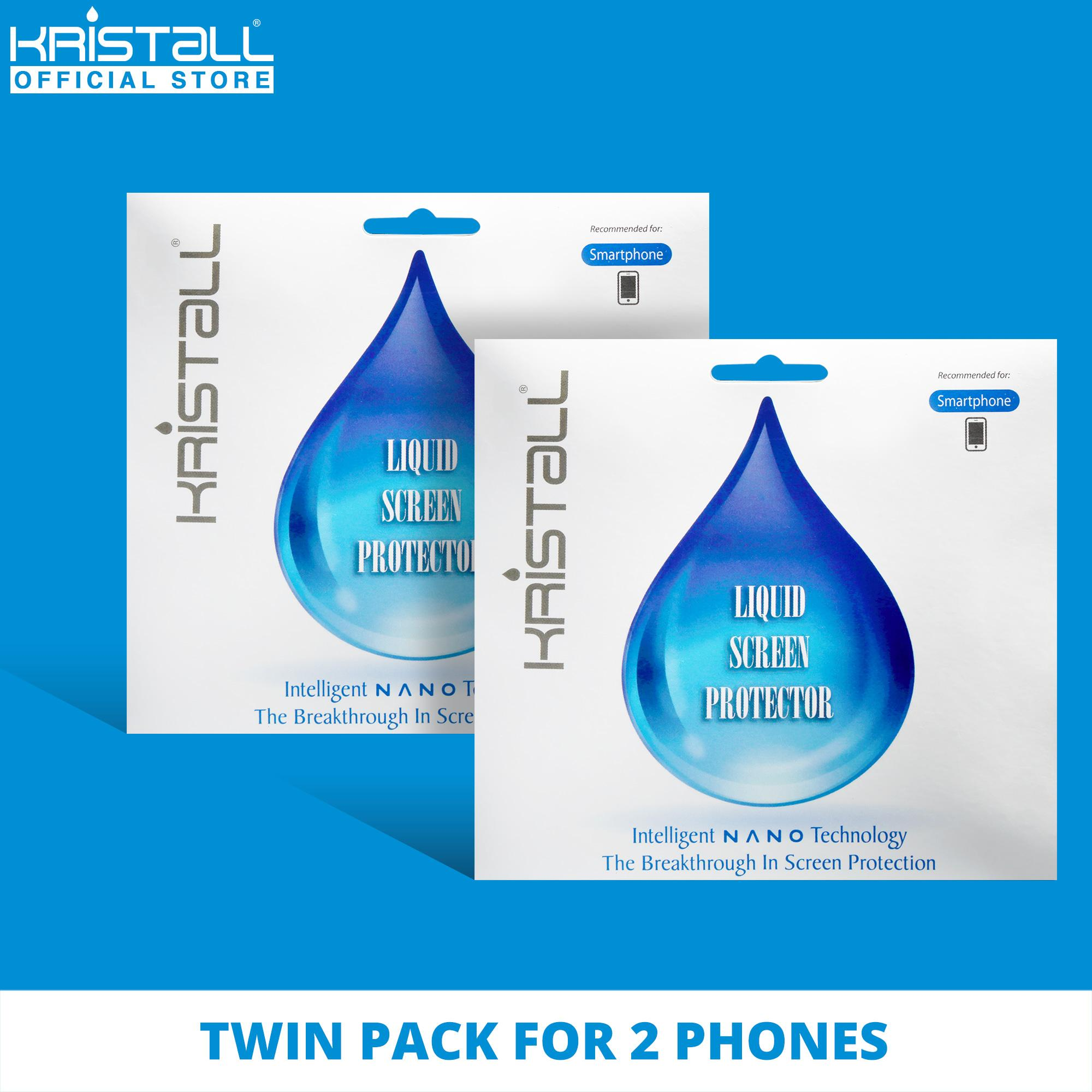 [TWIN PACK] Kristall® Nano Liquid Screen Protector for 2 SMARTPHONES - 9H Hardness, Edge to Edge Full Coverage, Scratch Resistant, EASY to Apply, Bubbles-FREE Screen Protector