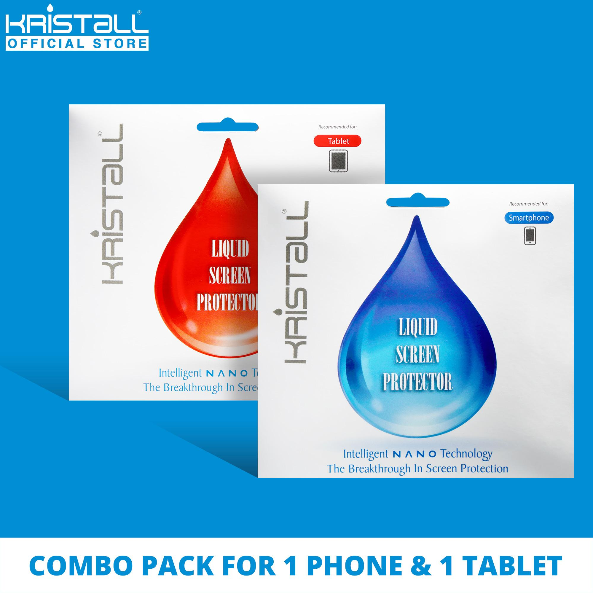 [COMBO PACK] Kristall® Nano Liquid Screen Protector for 1 SMARTPHONE & 1 TABLET - 9H Hardness, Edge to Edge Full Coverage, Scratch Resistant, EASY to Apply, Bubbles-FREE Screen Protector